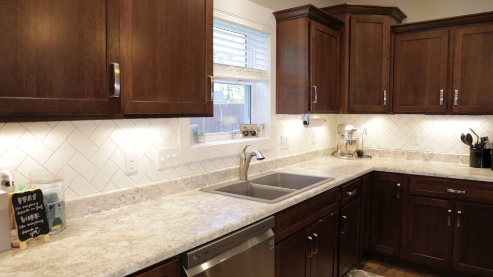 Kitchen backsplash made with our partners Indian Ridge Builders