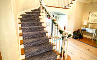 Carpet staircase is ready for the holidays!